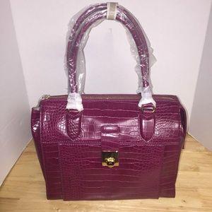 Vegan Alligator Embossed Leather Satchel Handbag